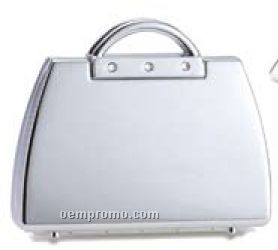 Plain Iron Chrome Plated Handbag Compact, Magnifying Mirror