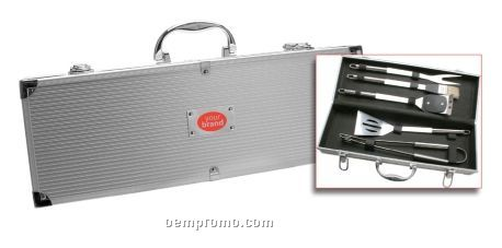 5-piece Barbeque Tool Set In Metal Luggage-style Container