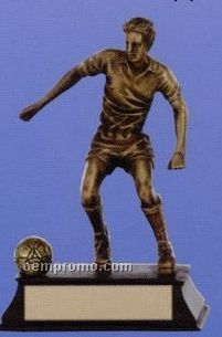 "Male Soccer Player Sport Sculpture Award W/ Antique Gold Finish (6"")"