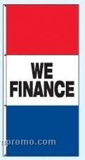 Single Face Stock Message Rotator Drape Flags - We Finance