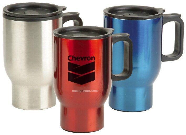 16 Oz. Non Skid Base Travel Mug With Handle