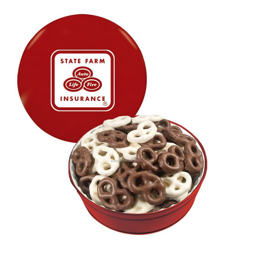 Red The Royal Tin With Chocolate Covered Pretzels