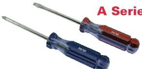 """A Line Super Prof. Screwdriver W/ Clear Handle (8"""" Slotted - 4"""" Blade)"""