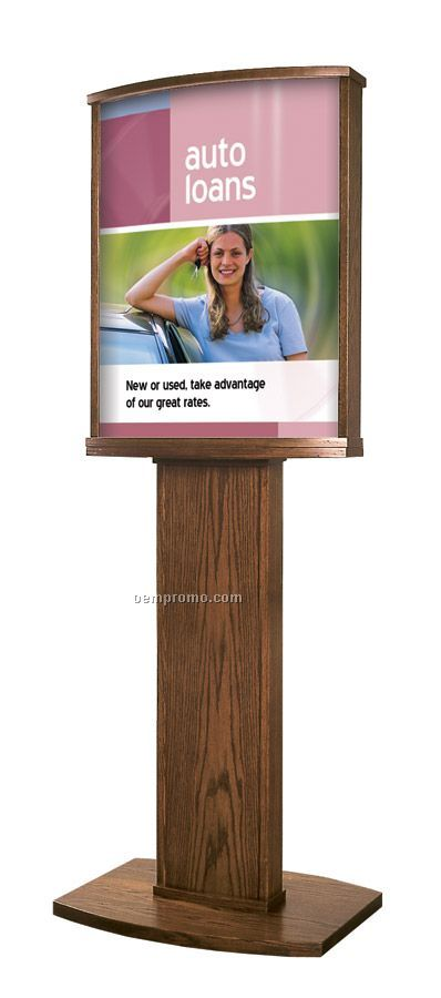 Solid Oak Convex Floor Poster Stand W/Pedestal Base (1 Side)