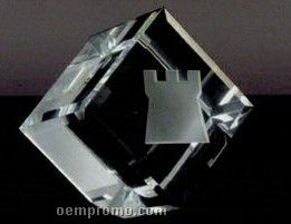 """3"""" Beveled Cube Paperweight (Deep Etched)"""