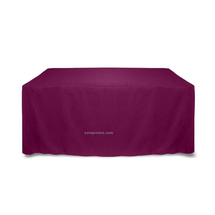 6' Solid Color Poly Poplin Table Throw - Cafe