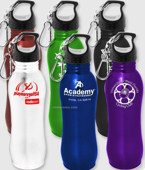 26 Oz. Silver Stainless Steel Bottle W/ Carabiner (Overseas 8-10 Weeks)