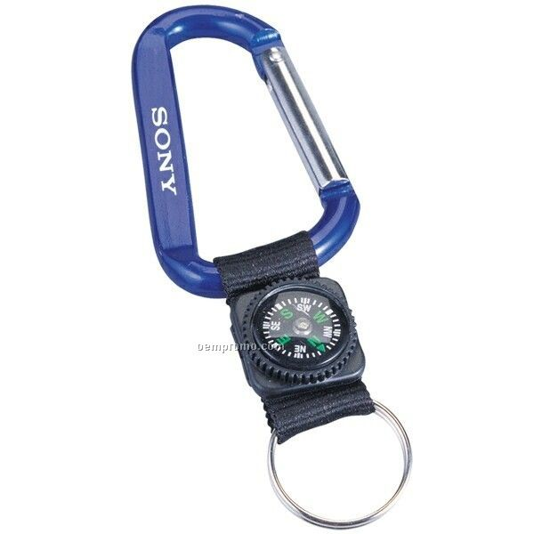 8 Mm Carabiner W/ Compass & Key Ring