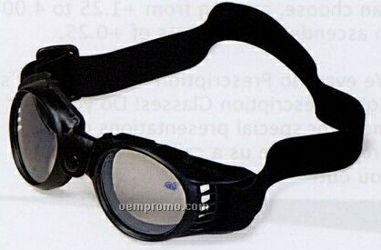 Black Rubber Frame Goggles W/ Shock Absorbent Guard & Clear Lenses