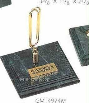 Green Marble Square Stand W/Memo Clip