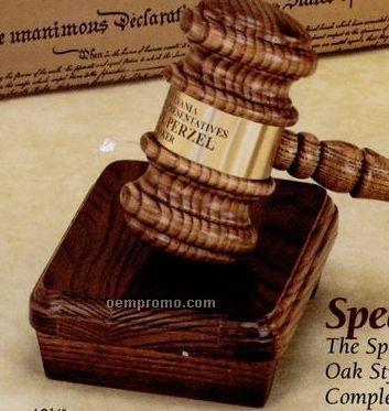 Oak Style Speaker's Gavel W/ Brass Engraving Band & Sound Block