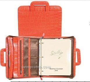 Red Italian Leather Zip Binder W/ Drop Handles