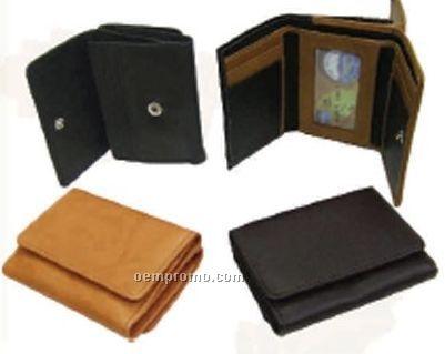 Women's Black Stone Wash Cowhide Tri Fold Flap Wallet