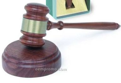 Directors Gavel Set With Sound Block & Engraving Band