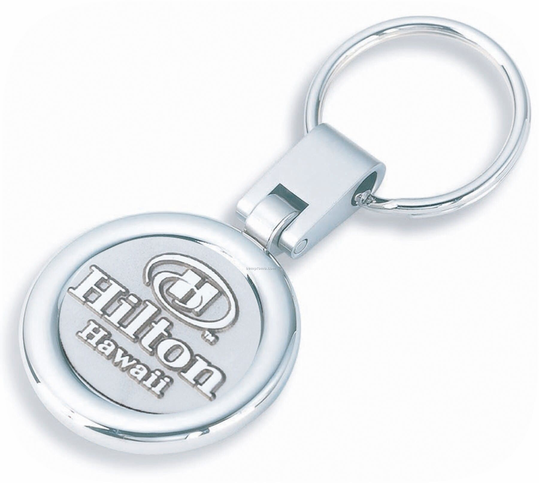 Shiny Nickel Swivel Rotating Key Ring With Raised And Recessed 3d Emblem