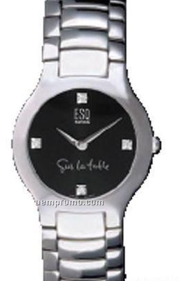 Women`s Esq By Women`s Watch W/ Black Dial Stainless Steel Bracelet