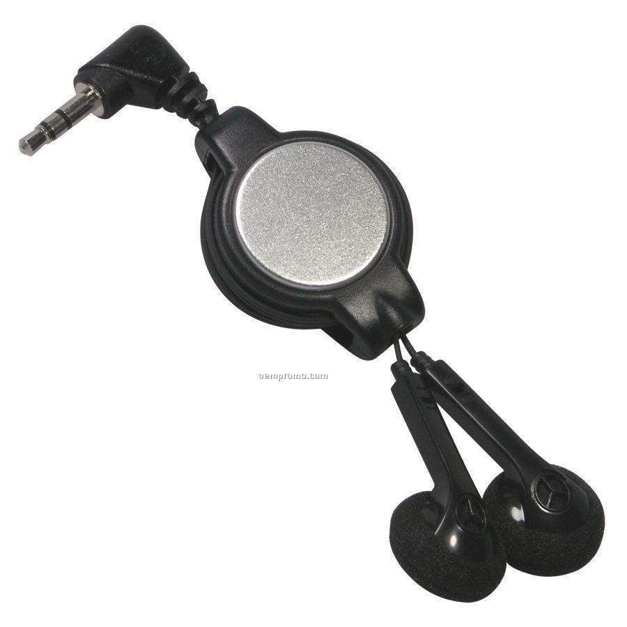 Black Retractable Earbuds