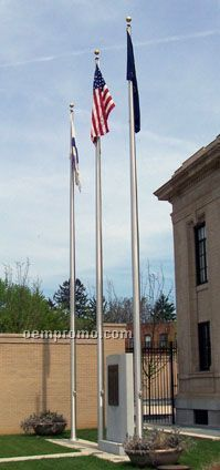 Commercial Series Outdoor External Halyard Flagpoles Satin (70')