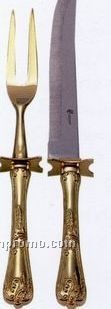 2 Piece Gold Plated Carving Set
