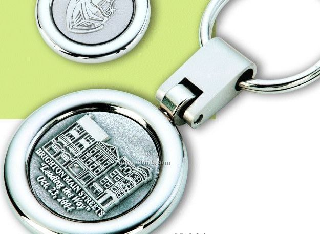 Swivel Rotating Split Key Ring W/ 3d Image - Raised And Recessed Image