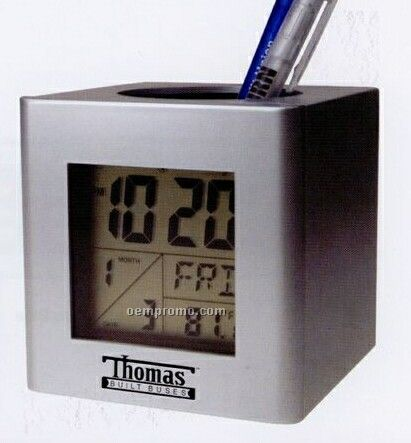 Pen Holder Cup W/Calendar Alarm Clock