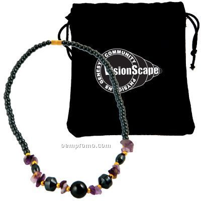"Premium 16"" Magnetic Hematite Necklace With Purple Accents"
