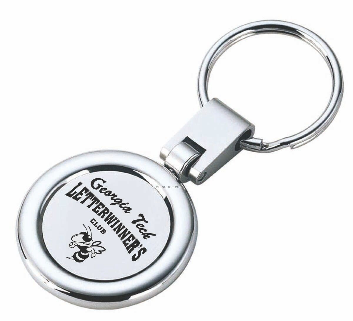 Round Key Ring Shiny Nickel Swivel Rotating With Satin Matte Accent