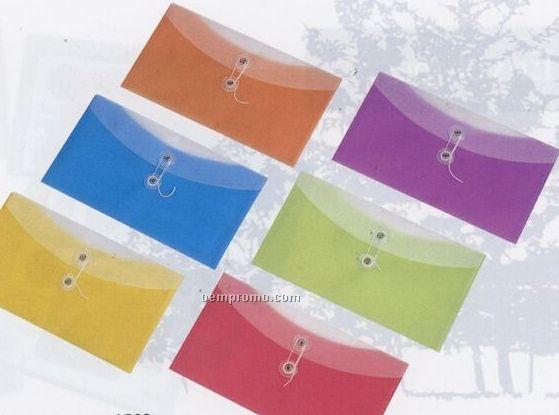 """Lemon Yellow 2 Pocket Check Size Poly Envelope (9 3/4""""X5 1/4"""")"""