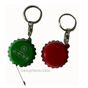 Bottle Caps Tape Measure Key Ring