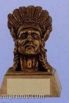 "Indian Mascot Sculpture Award W/ Gold Base (4"")"