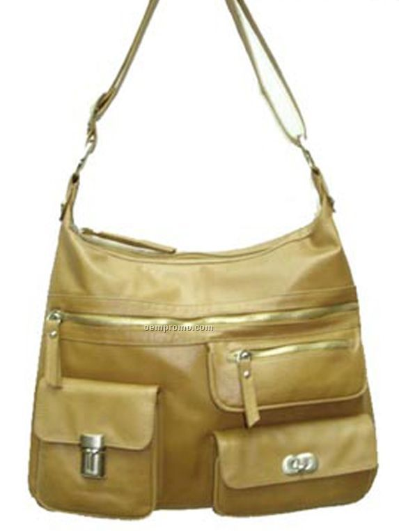 Leather Buffalo Chicago Purse W/ 3 Zip Pocket - Luggage Brown