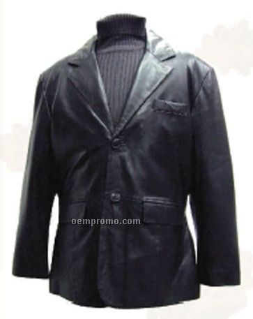 Men's Black Lambskin 2 Button Blazer Jacket