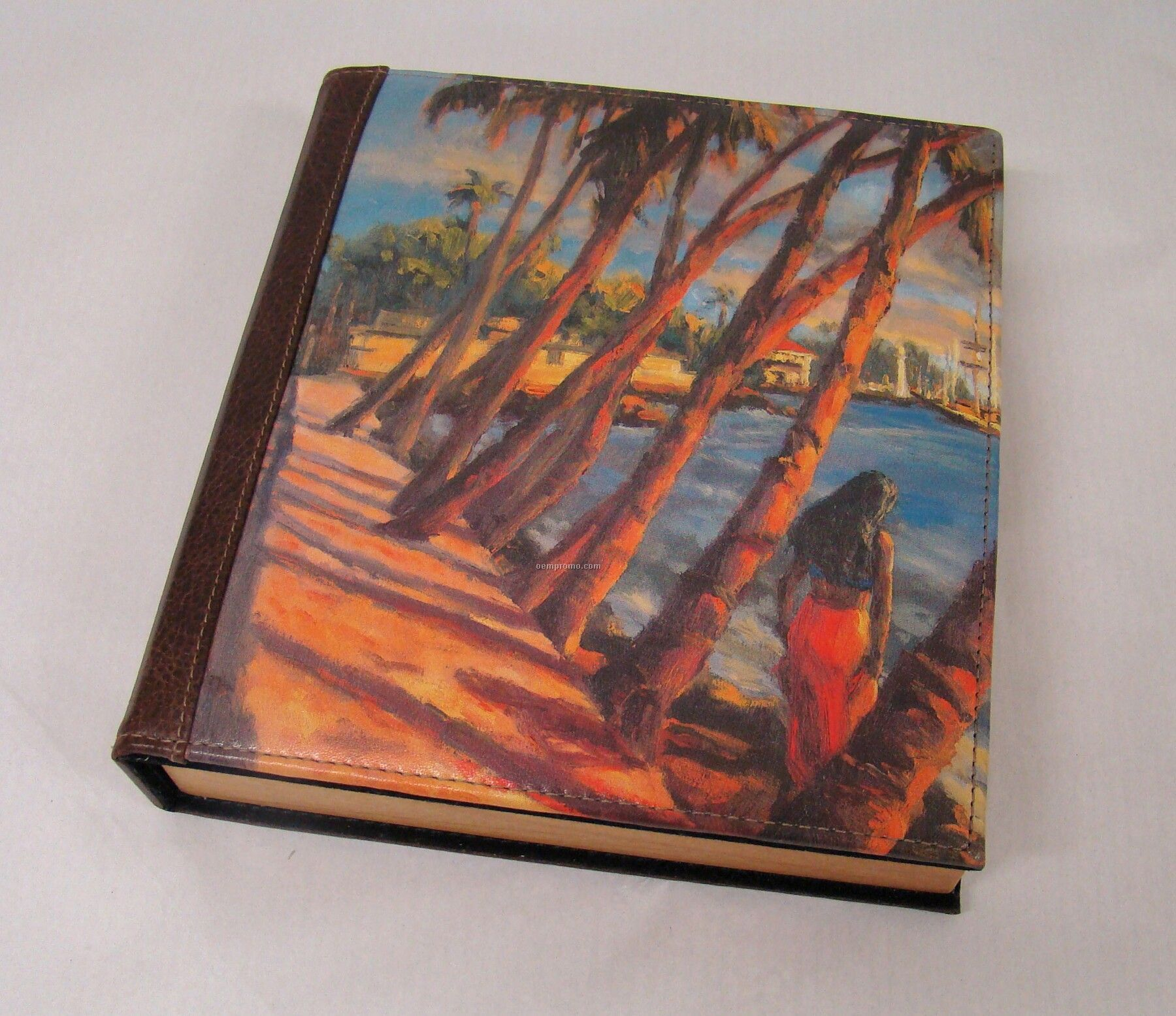 Small Padded Genuine Leather & Wood Photo Album