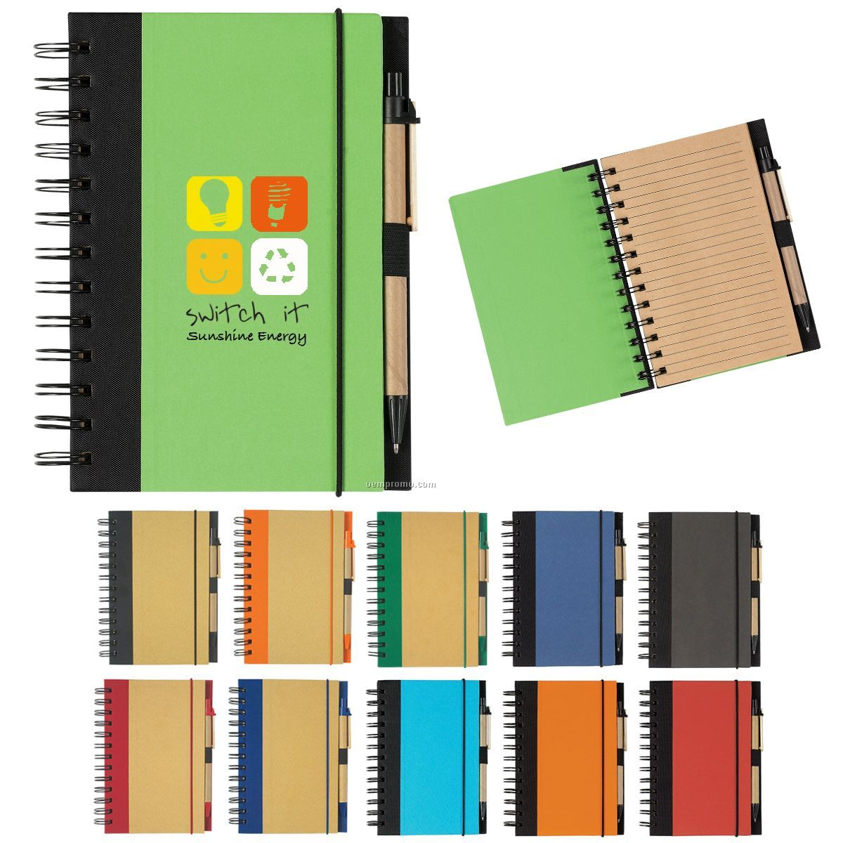 Eco-friendly Spiral Notebook W/ Pen
