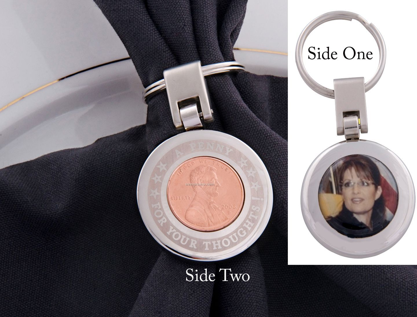 Shiny Round Key Ring With Penny Embedment, Reverse Side With 4 Color Proces