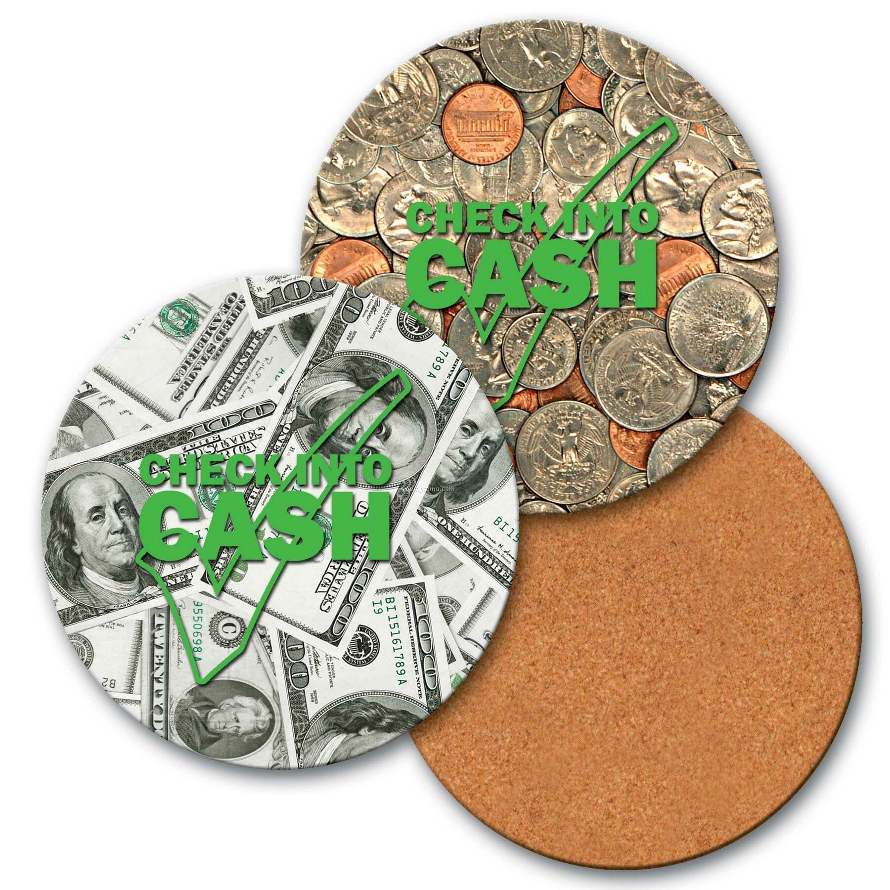 "4"" Round Coaster W/3d Lenticular Images Of Dollars And Cents (Custom)"