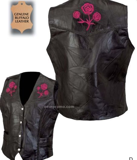 Diamond Plate Rock Design Ladies' Leather Vest W/ Embroidered Roses (M)