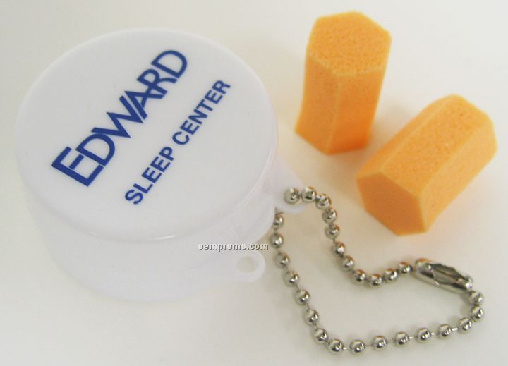 Ear Plugs In White Case With Ball Chain