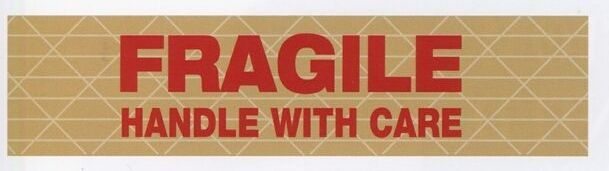 """Stock Imprinted Reinforced Gummed Tape/ 3""""X450' (Fragile Handle With Care)"""