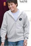 White Hanes Youth Comfortblend Full Zip Hooded Sweatshirt