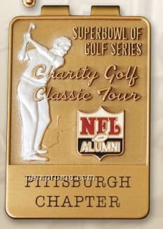 "Antique Bronze Corporate & Tournament Id Money Clip (2""X1 3/8"")"