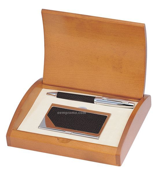 Executive Black Leather Pen And Card Case In Cherry Wood Box