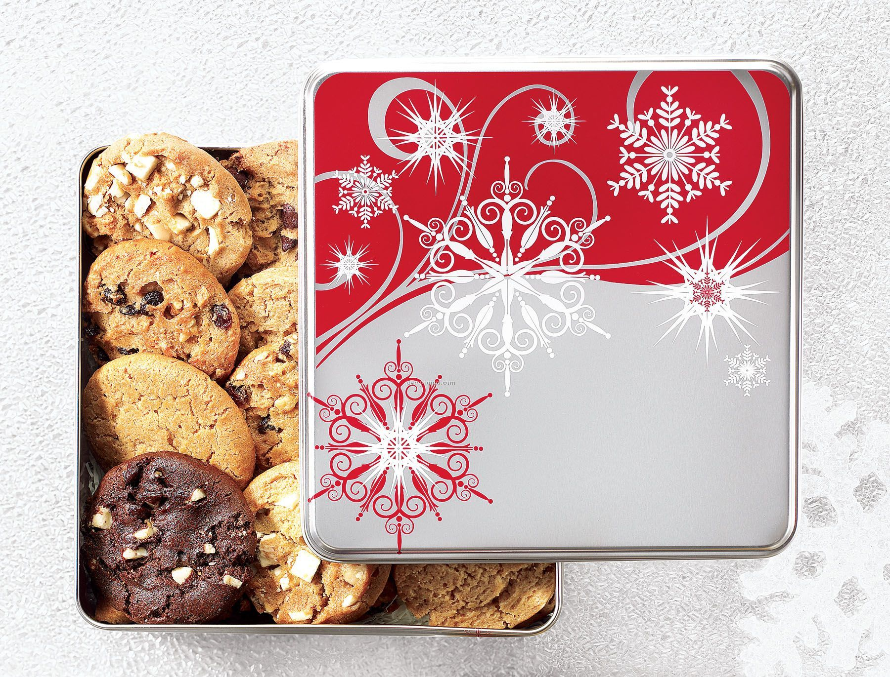 Silver & Red Snowflakes Tin W/ 48 Nibblers Cookies