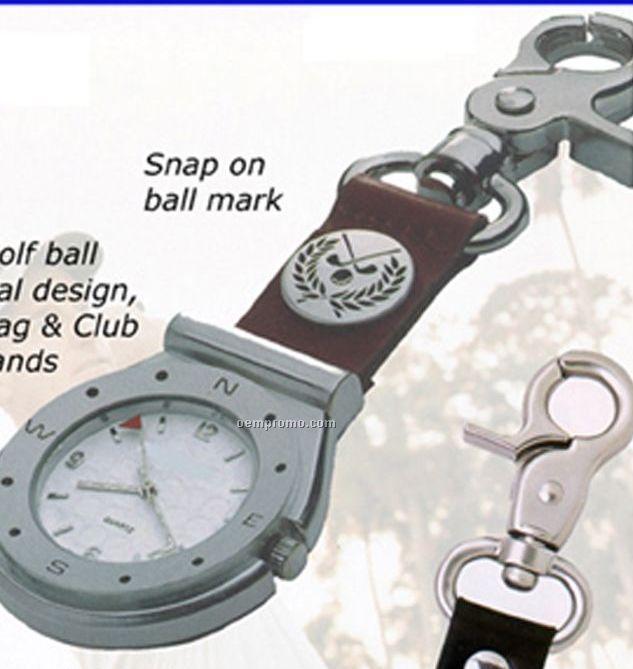 Cititec Clip Analog Quartz Golf Design Watch (Brown & Silver W/ White Face)
