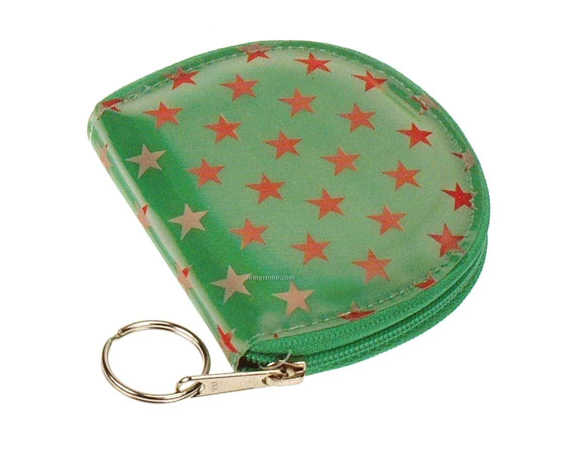 Round Coin Purse W/3d Lenticular Animated Stars (Blanks)