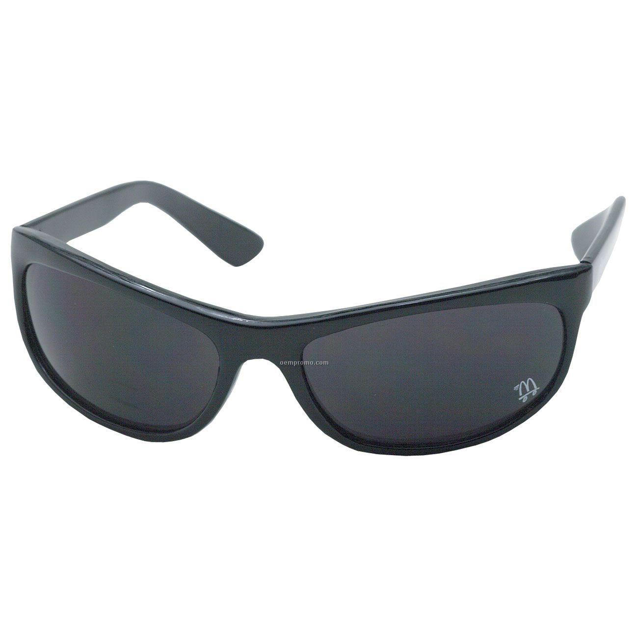Wrap Traditional Shiny Black Sunglasses W/ Smoke Lens