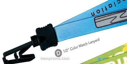 "1/2"" Color Match Lanyard W/ Strap Clip - Full Color Imprint"