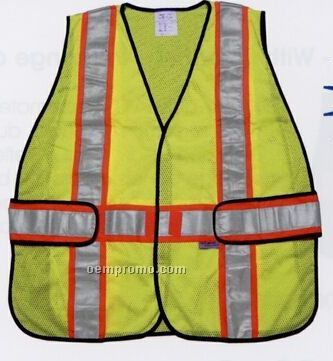 Adjustable Class II Fluorescent Yellow Safety Vests (M-xl) Blank