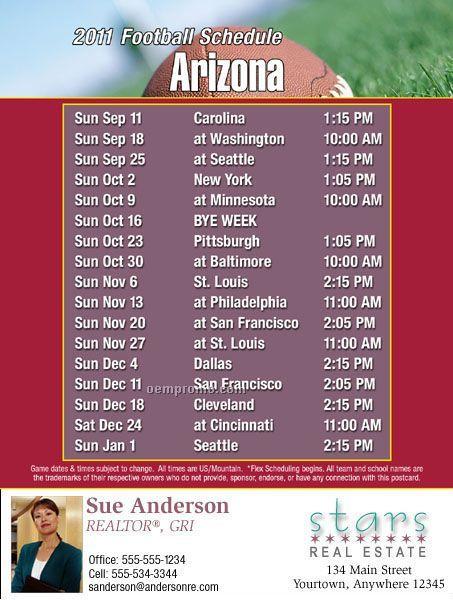 """Arizona Football Schedule Postcards- Jumbo (8-1/2""""X5-1/2"""")"""
