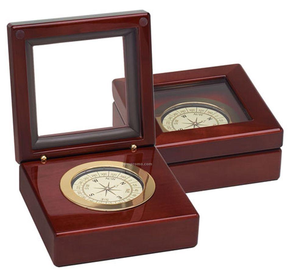 Compass In Piano Finish Wood Box